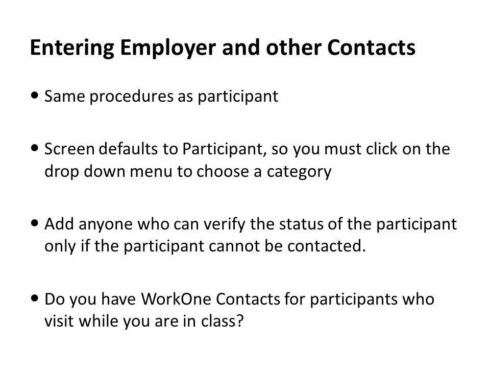 Entering Employer and other Contacts
