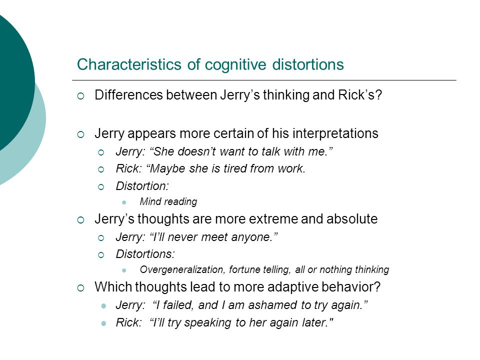 Characteristics of cognitive distortions