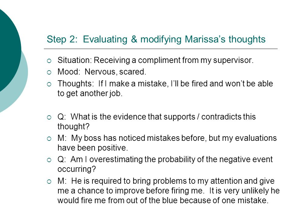 Step 2: Evaluating & modifying Marissa's thoughts