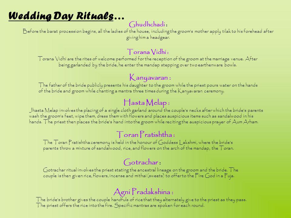 Wedding Day Rituals… Kanyavaran : Hasta Melap : Toran Pratishtha :
