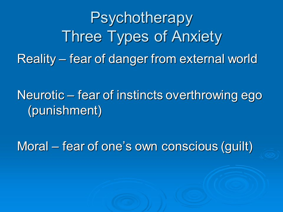 Psychotherapy Three Types of Anxiety