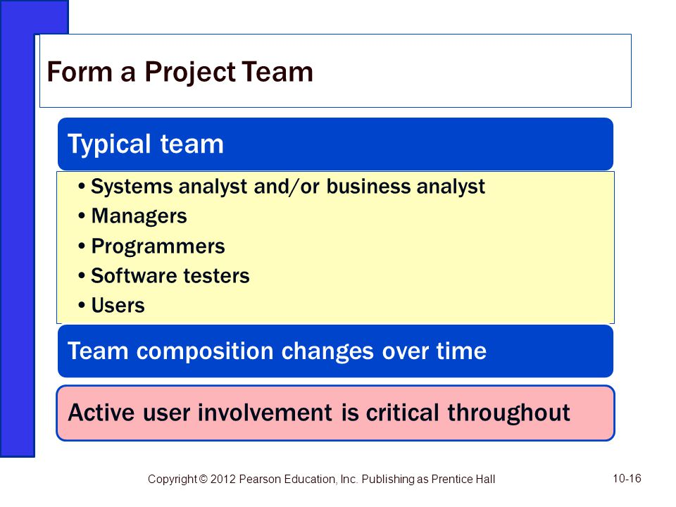 Form a Project Team Typical team Team composition changes over time