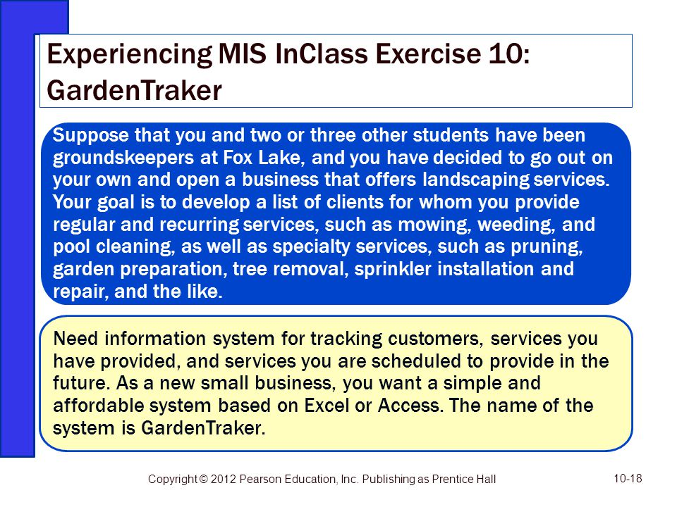 Experiencing MIS InClass Exercise 10: GardenTraker