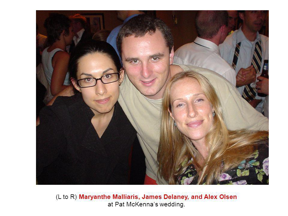 (L to R) Maryanthe Malliaris, James Delaney, and Alex Olsen at Pat McKenna's wedding.