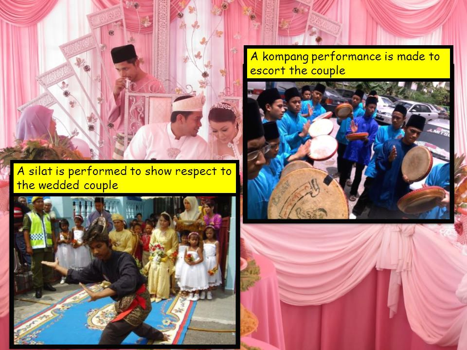 A kompang performance is made to escort the couple