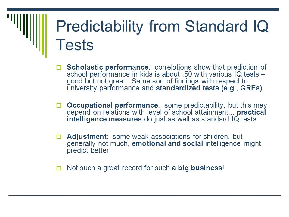 Predictability from Standard IQ Tests