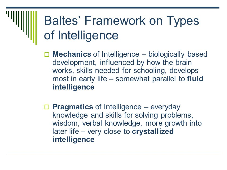 Baltes' Framework on Types of Intelligence