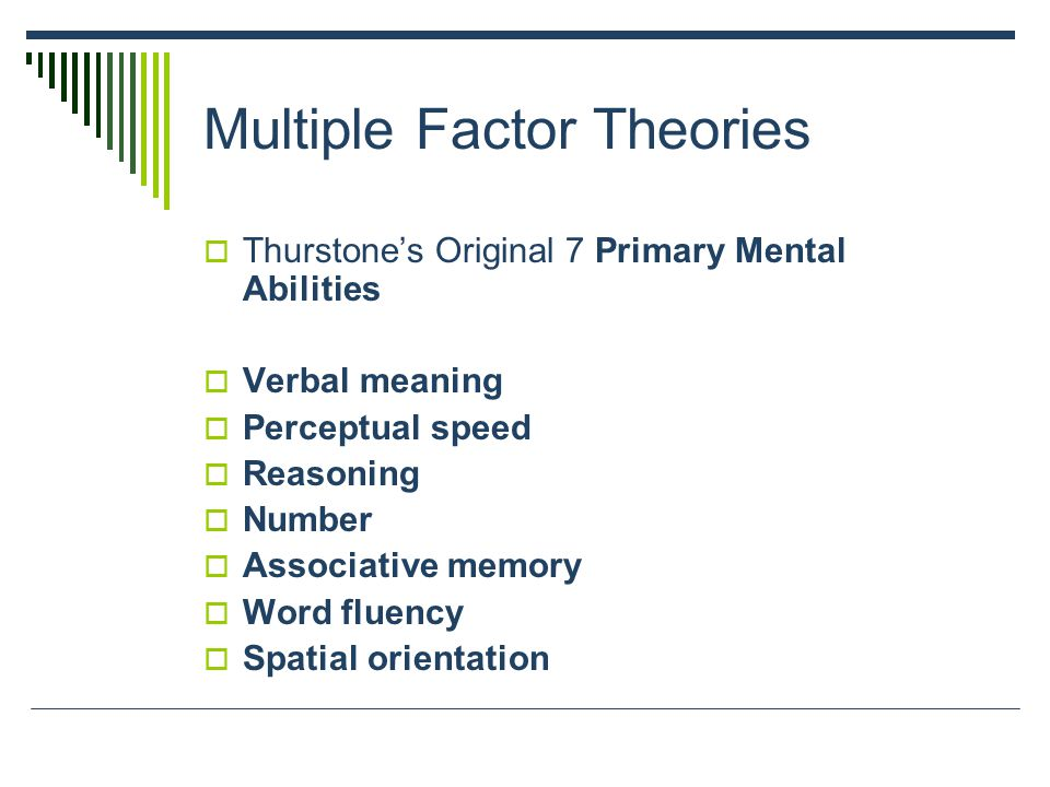 Multiple Factor Theories