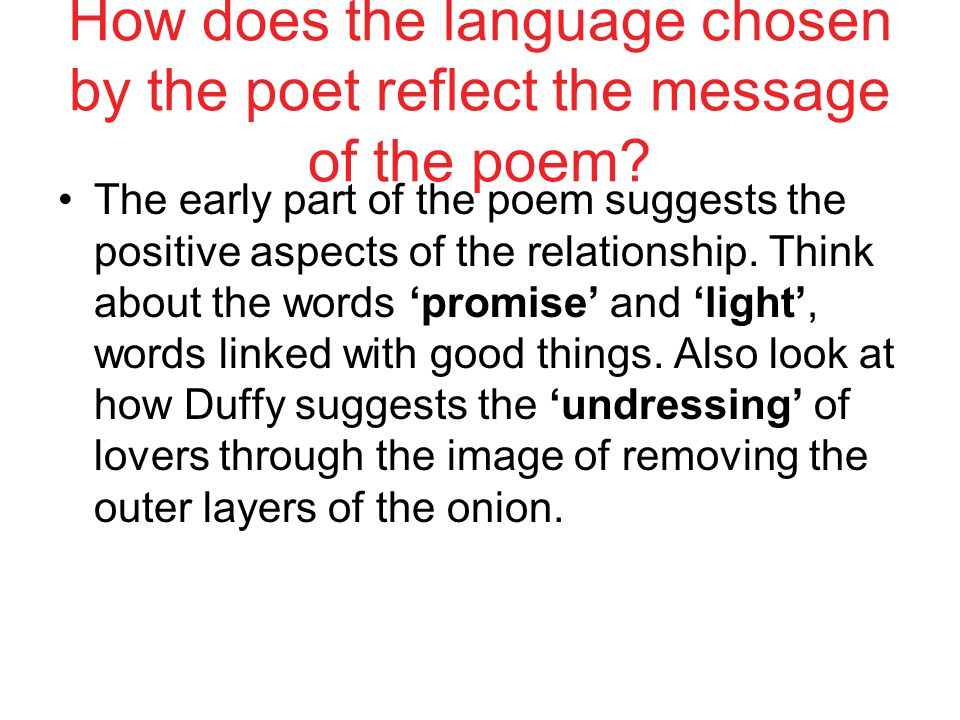 "how does the poem ""the poet Writing about poetry can be difficult a poem does not affect its reader in quite the same way that a work of prose does to be able to understand and write about the way a poem works, you."