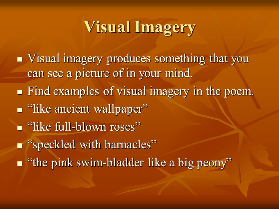 Visual Imagery Visual imagery produces something that you can see a picture of in your mind. Find examples of visual imagery in the poem.