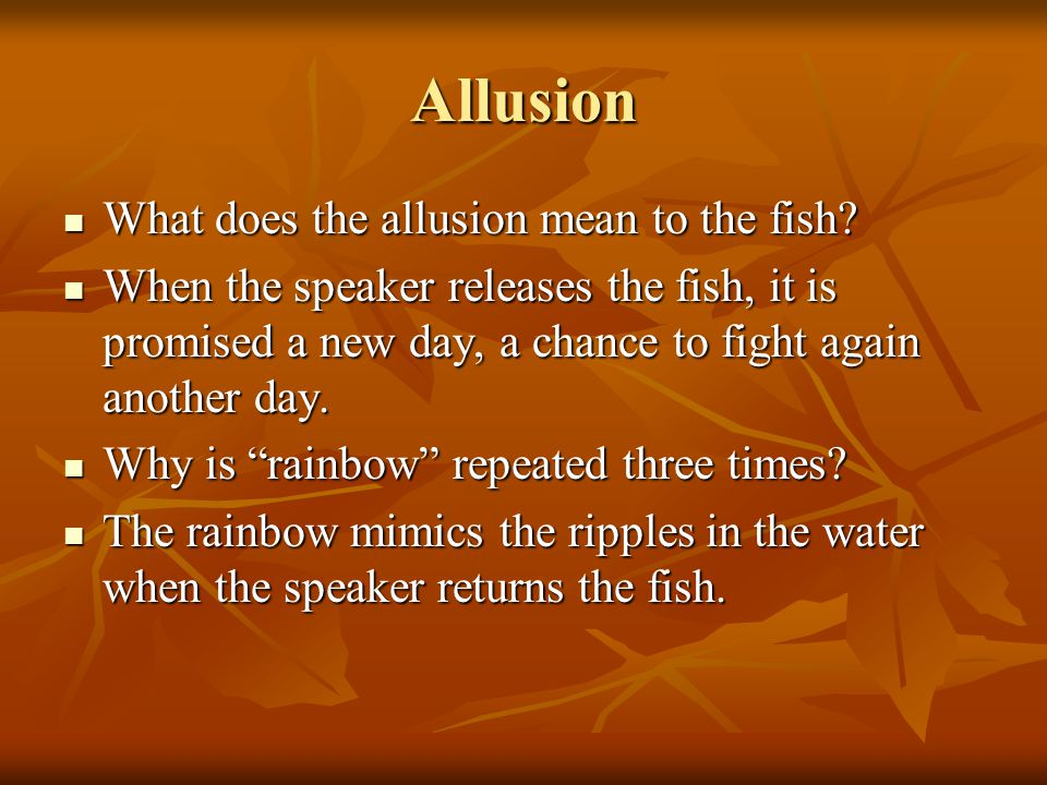 Allusion What does the allusion mean to the fish
