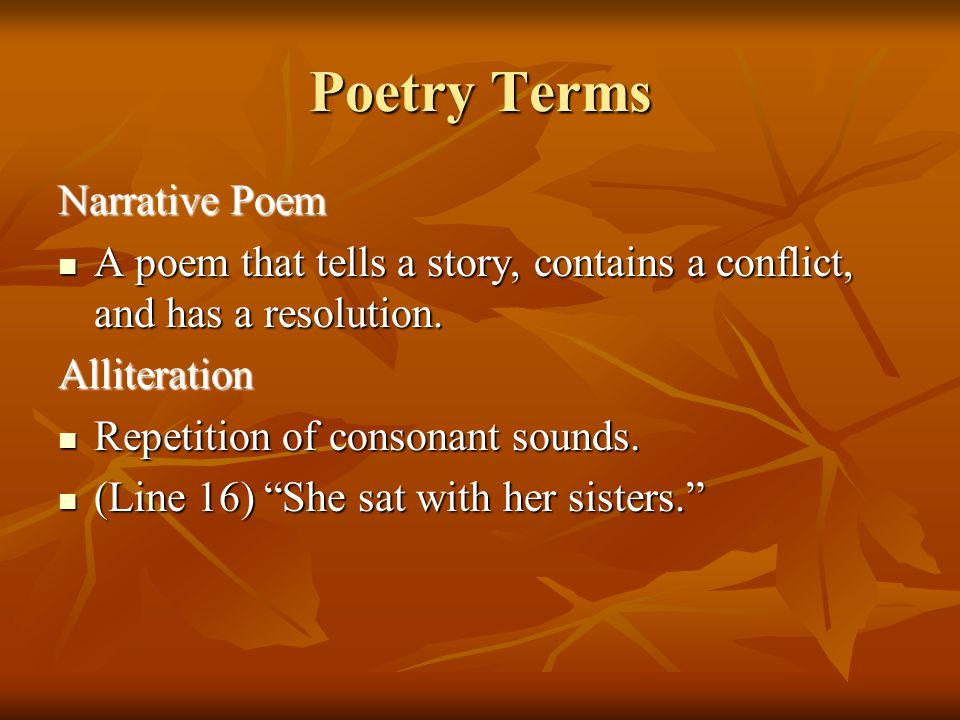 Poetry Terms Narrative Poem