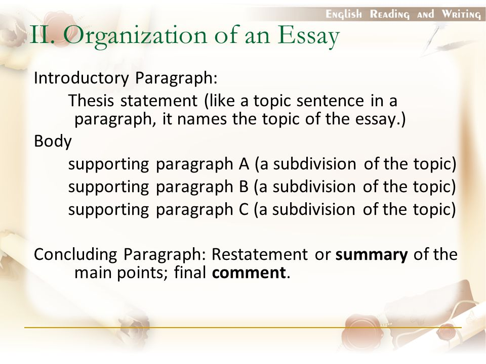II. Organization of an Essay