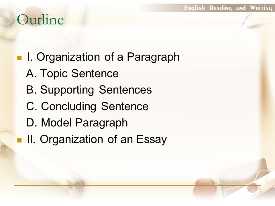Outline I. Organization of a Paragraph A. Topic Sentence