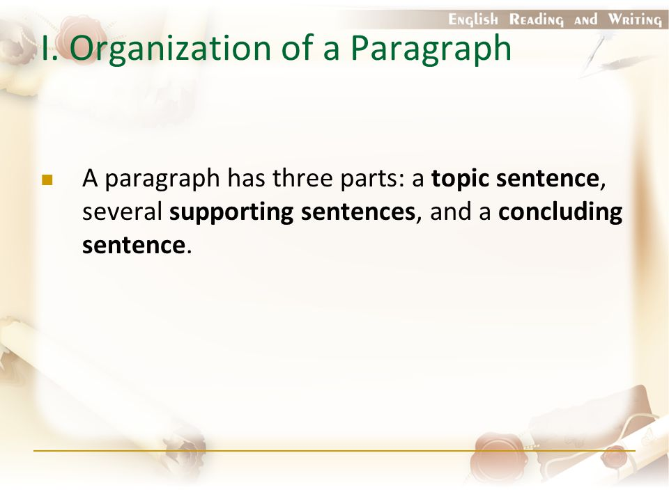 I. Organization of a Paragraph