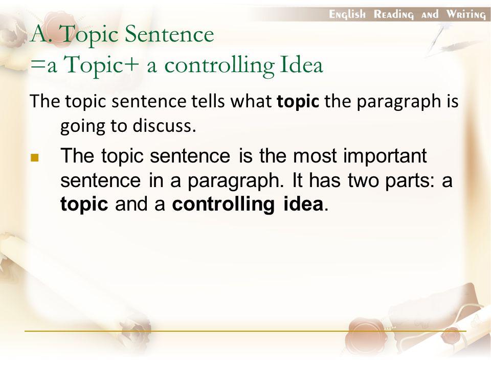 A. Topic Sentence =a Topic+ a controlling Idea