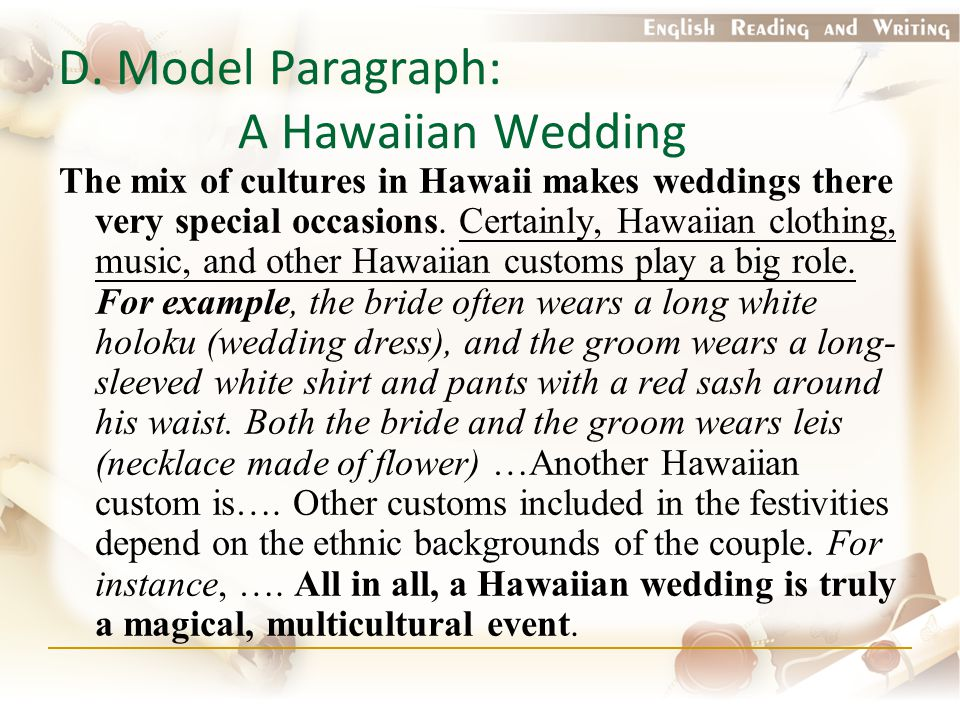 D. Model Paragraph: A Hawaiian Wedding