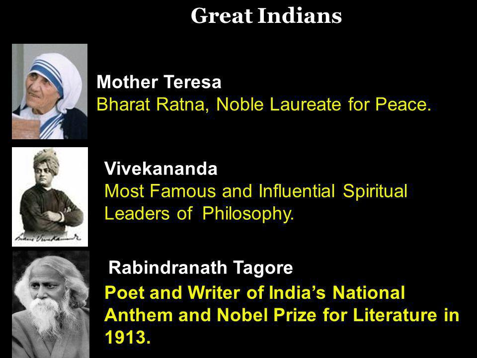 Great Indians Mother Teresa Bharat Ratna, Noble Laureate for Peace.