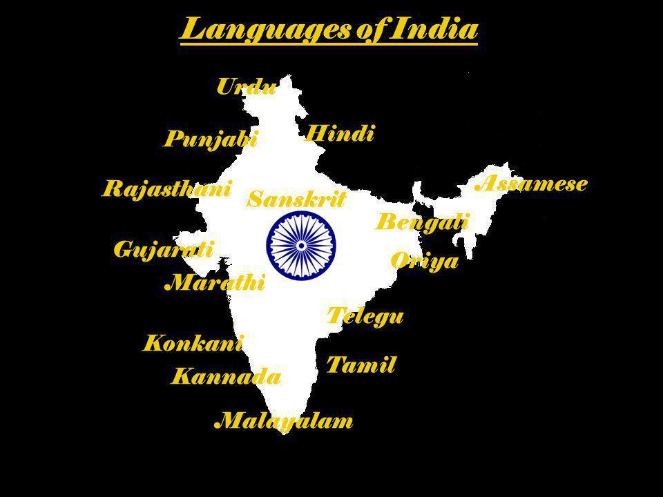 Languages of India Urdu Hindi Punjabi Assamese Rajasthani Sanskrit