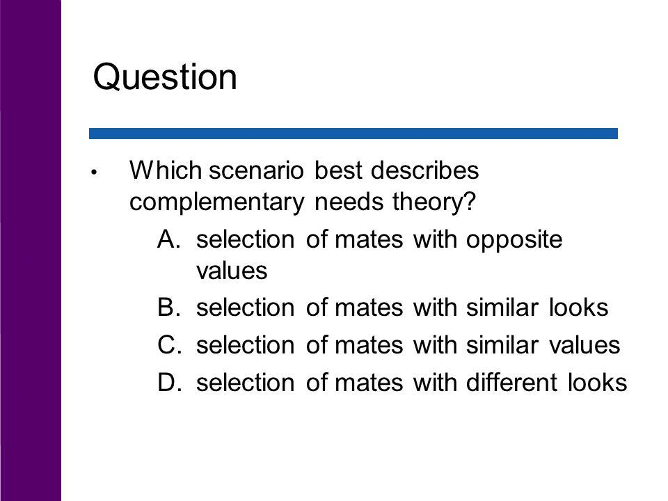 Question Which scenario best describes complementary needs theory