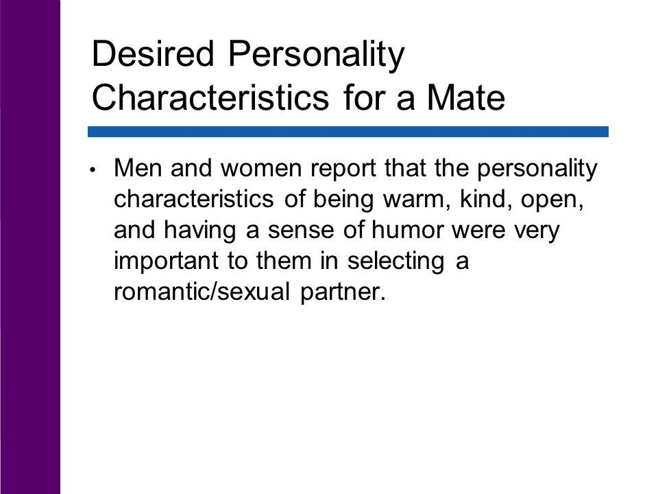 Desired Personality Characteristics for a Mate
