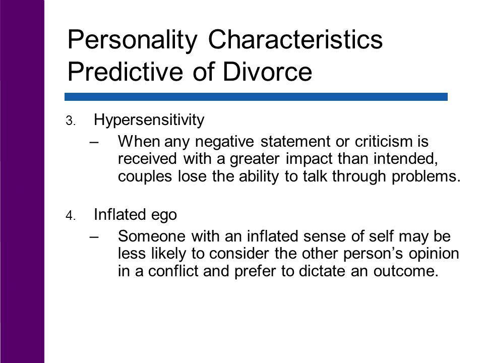 Personality Characteristics Predictive of Divorce