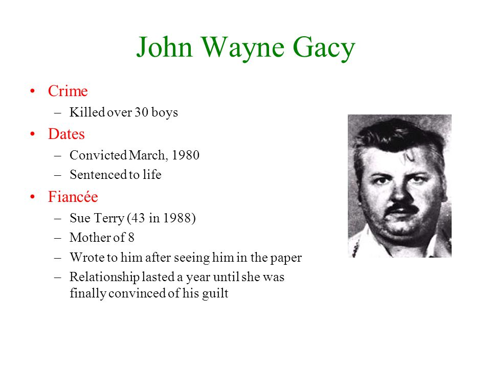 John Wayne Gacy Crime Dates Fiancée Killed over 30 boys