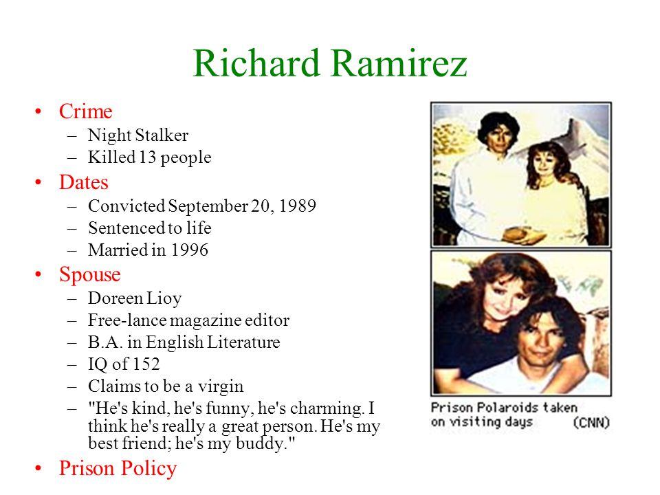 Richard Ramirez Crime Dates Spouse Prison Policy Night Stalker