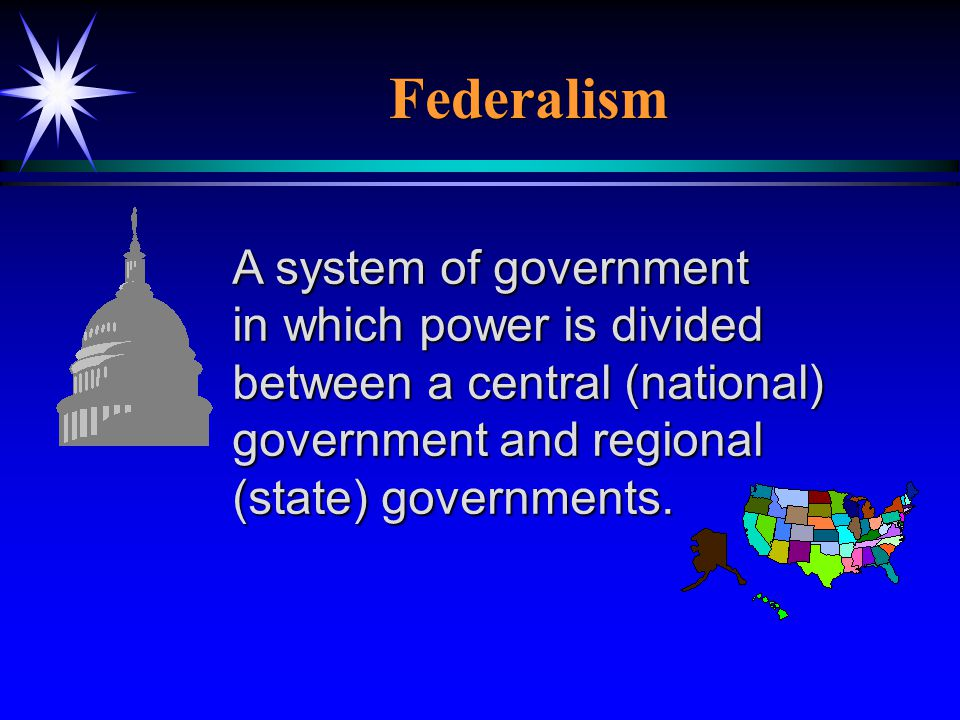 Federalism A system of government in which power is divided