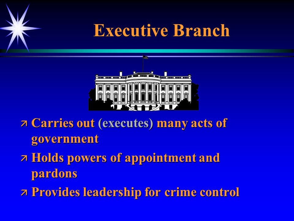 Executive Branch Carries out (executes) many acts of government