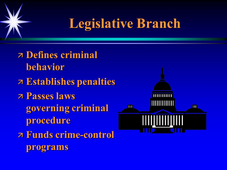 Legislative Branch Defines criminal behavior Establishes penalties