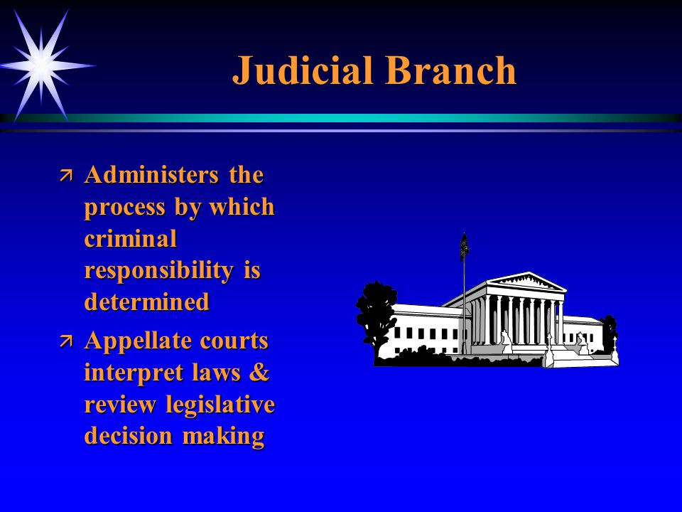 Judicial Branch Administers the process by which criminal responsibility is determined.