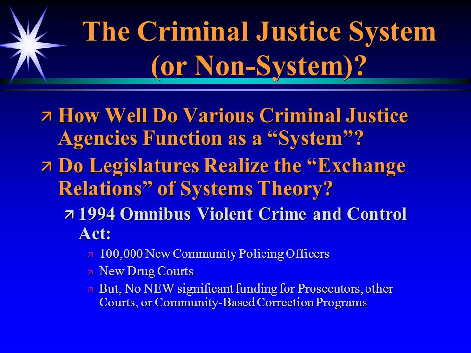 The Criminal Justice System (or Non-System)