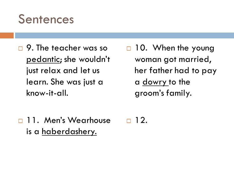 Sentences 9. The teacher was so pedantic; she wouldn't just relax and let us learn. She was just a know-it-all.