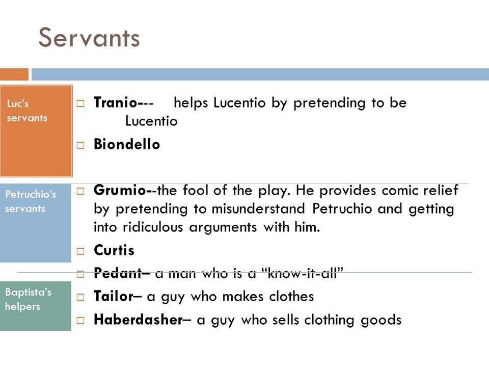 Servants Tranio--- helps Lucentio by pretending to be Lucentio