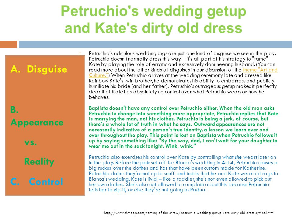 Petruchio s wedding getup and Kate s dirty old dress