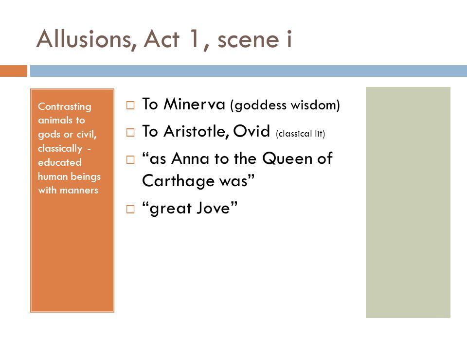 Allusions, Act 1, scene i To Minerva (goddess wisdom)