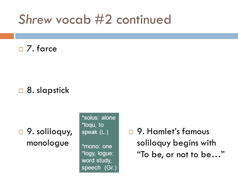 Shrew vocab #2 continued