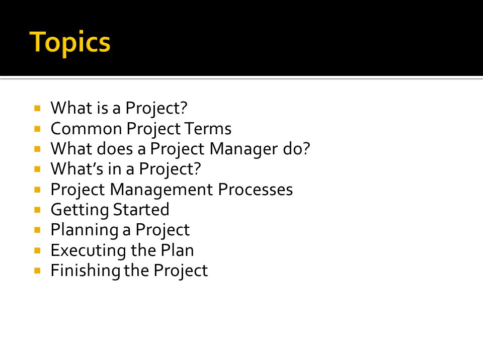 Topics What is a Project Common Project Terms