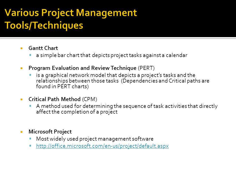Various Project Management Tools/Techniques