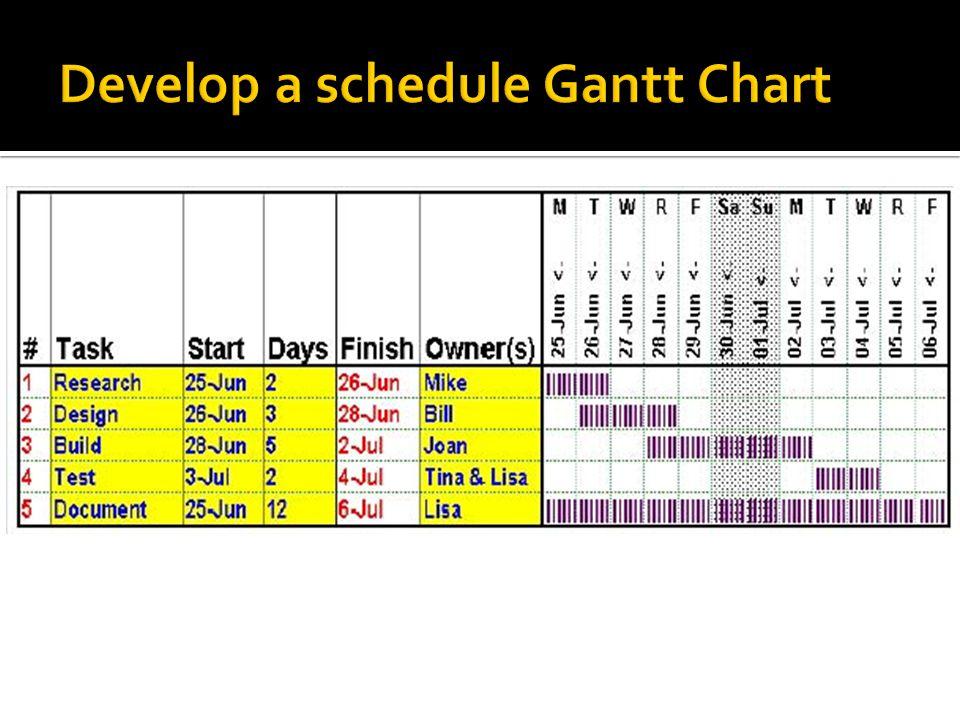 Develop a schedule Gantt Chart
