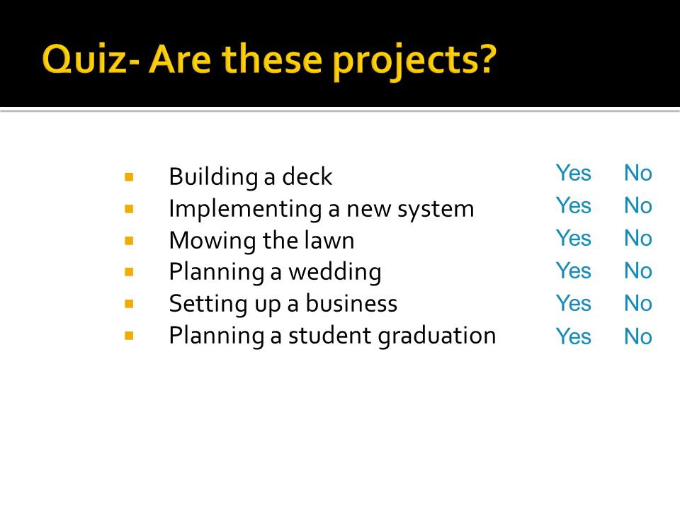 Quiz- Are these projects