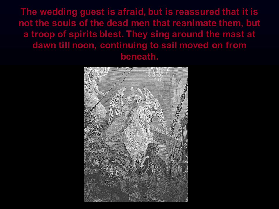 The wedding guest is afraid, but is reassured that it is not the souls of the dead men that reanimate them, but a troop of spirits blest.