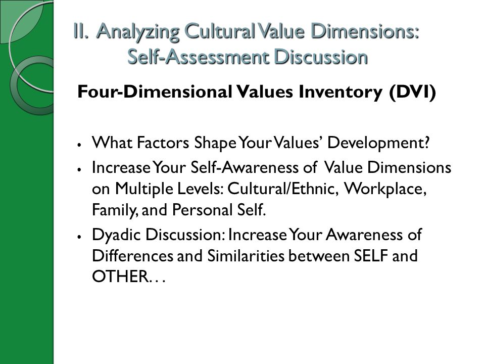 II. Analyzing Cultural Value Dimensions: Self-Assessment Discussion
