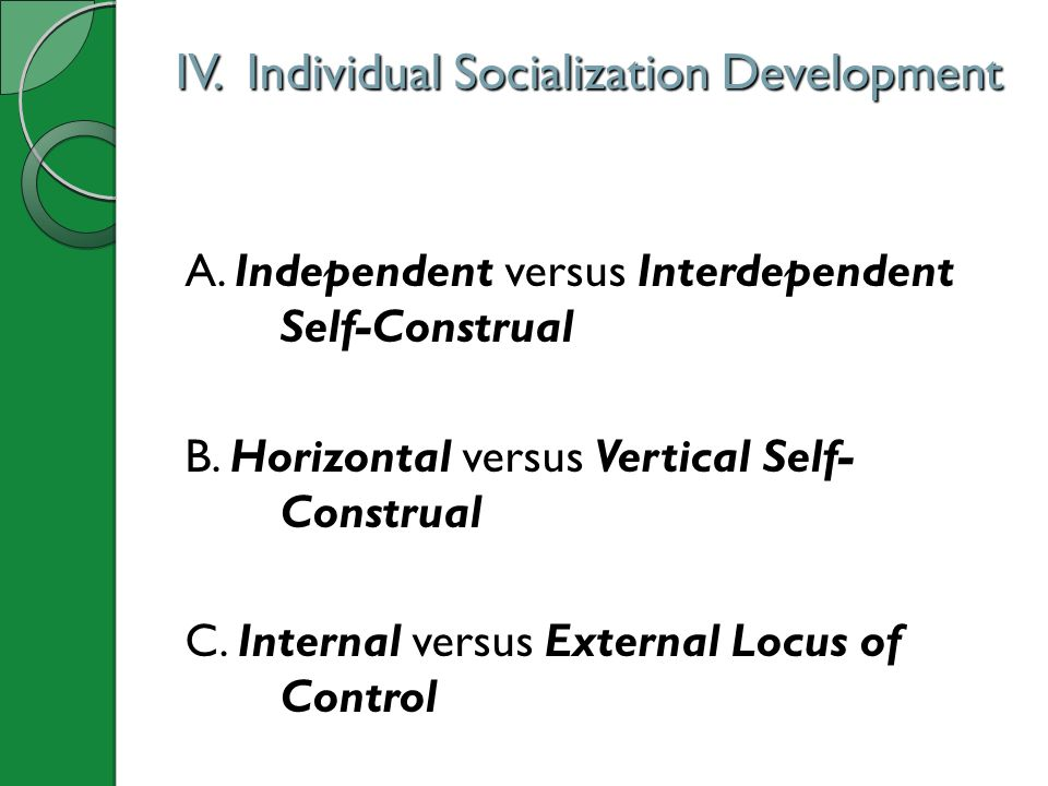 IV. Individual Socialization Development