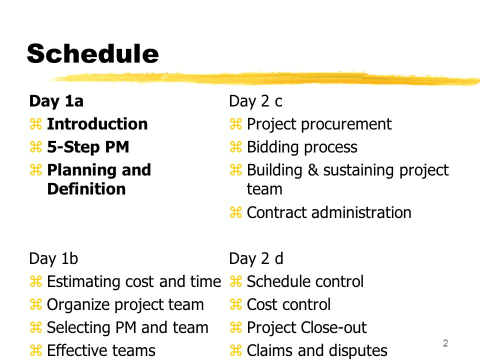 Schedule Day 1a Introduction 5-Step PM Planning and Definition Day 1b