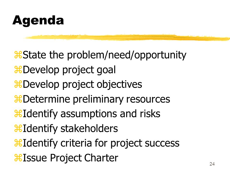 Agenda State the problem/need/opportunity Develop project goal
