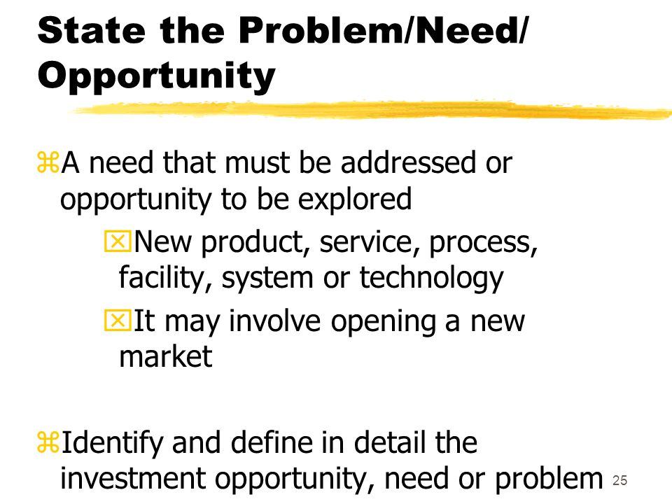 State the Problem/Need/ Opportunity