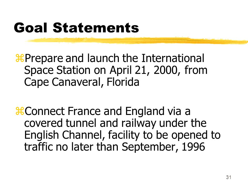 Goal Statements Prepare and launch the International Space Station on April 21, 2000, from Cape Canaveral, Florida.