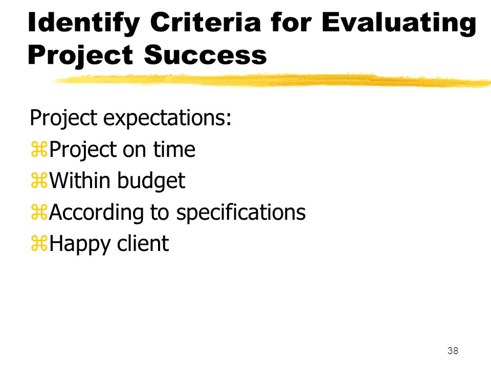 Identify Criteria for Evaluating Project Success